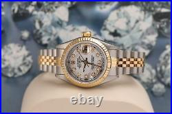 Rolex 26mm Datejust Fluted Bezel White Mother of Pearl Diamond Dial Jubilee Band