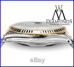 Rolex 36mm Datejust 2 Tone White MOP Mother Of Pearl Diamond Dial Watch