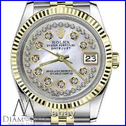 Rolex 36mm Datejust 2 Tone White MOP Mother Of Pearl String Diamond Dial