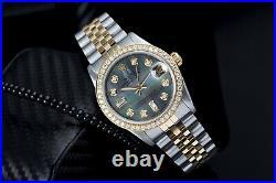 Rolex 36mm Datejust Black Mother Of Pearl 8+2 Diamond Dial & Diamond Bezel Watch