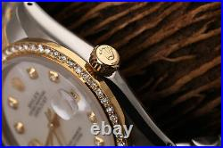 Rolex 36mm Datejust White Mother of Pearl Dial Two Tone Diamond Bezel Watch