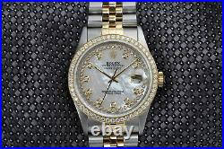 Rolex 36mm Datejust White Mother of Pearl String Diamond Dial 2 Tone Watch