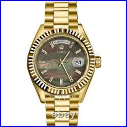 Rolex 36mm President 18K Yellow Gold Black Tahitian Pearl Diamond Baguette Watch