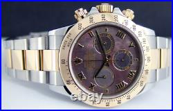 Rolex Cosmograph Daytona Gold & Steel Black Mother of Pearl 116523 WATCH CHEST