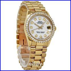 Rolex Datejust31mm 68278 Yellow Gold Diamond Pearl Automatic 2YEARWTY # I3179