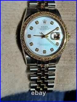 Rolex Datejust 16013 36mm 18K Gold Steel White MO Pearl Diamond Dial and bezel