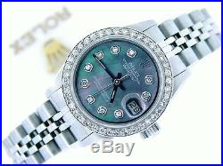 Rolex Datejust Ladies Stainless Steel Watch Black Mother of Pearl MOP Diamond