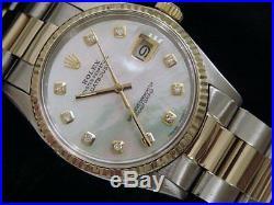 Rolex Datejust Men 2tone 18K Gold & Steel Watch White Mother Pearl Diamond 16013