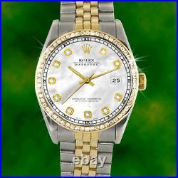Rolex Datejust Mens Gold & Steel Two-Tone Diamond White MOP Pearl Jubilee Watch