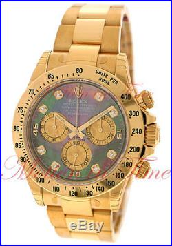 Rolex Daytona Tahitian Mother of Pearl Diamond Dial Yellow Gold Bracelet 116528