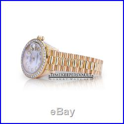 Rolex Ladies Datejust 18k Yellow Gold 69178 Diamond Mother of Pearl Dial Bezel