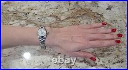 Rolex Ladies Datejust Date Oyster Steel Diamond Dial 14K White Gold Bezel Watch