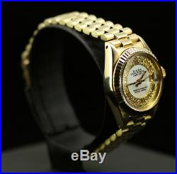 Rolex Ladies Datejust Date President 18K Gold Mother of Pearl Pave Diamond Dial