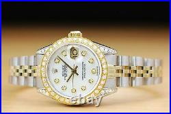Rolex Ladies Datejust White Mother Of Pearl Two Tone Diamond Watch