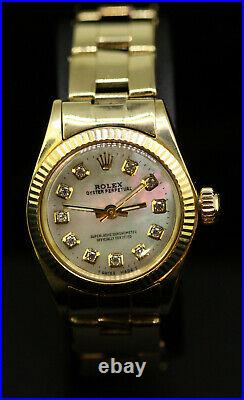 Rolex Ladies Oyster Perpetual 14K Gold Diamond Dial Pearl Oyster