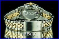 Rolex Men's 36mm Datejust Two-Tone Mother of Pearl w Diamond Emerald Dial Bezel