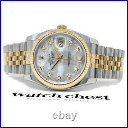 Rolex Men's Datejust 36 Steel & Gold 116233 Wristwatch Mother of Pearl Diamond