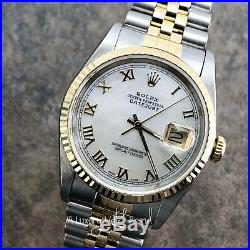 Rolex Mens Datejust 16233 Gold & SS White Mother of Pearl Dial Watch
