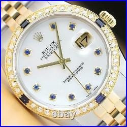 Rolex Mens Datejust 2 Tone Mother Of Pearl Sapphire Dial Quickset Diamond Watch