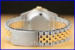 Rolex Mens Datejust Mother Of Pearl Tsavorite Two Tone Diamond Watch 16013