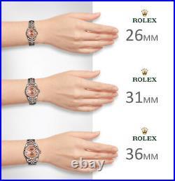 Rolex Mother of Pearl 31mm Roman Numeral 18K Rose Pink 2tone Everrose Bezel