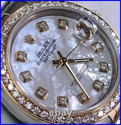 Rolex Pearl White Diamonds Rolex 31mm Medium 2tone 18K Yellow Gold SS Datejust