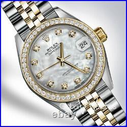 Rolex White Pearl 31mm Two-tone 18K Yellow Gold Diamond Datejust Medium SS Watch