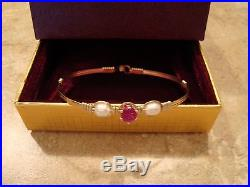 Ronaldo PUPPY LOVE Bracelet Gold with FW Pearls, Ruby Stone