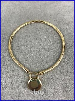 SIGNATURE PADLOCK Authentic PANDORA Shine GOLD Plated Bracelet 7.9 567757CZ-20m