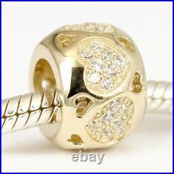 SOLID 9CT 9K GOLD Fovever Love Heart Bead w 48 Sparkling Cz Fit Bracelet 2.5g
