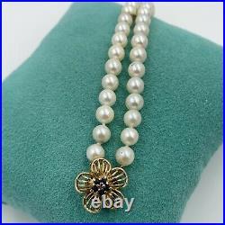 Sapphire 14k Gold Pearl Bracelet 8 Classic Wedding Vintage Estate