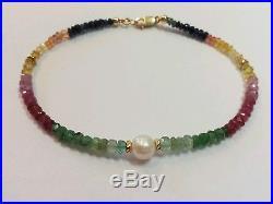Sapphire Emerald Ruby Citrine gemstone white freshwater pearl 14k gold bracelet