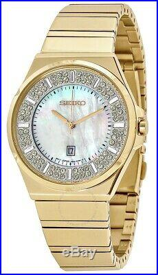 Seiko Core Matrix Crystals Mother of Pearl Dial Gold Women's Watch SXDG14
