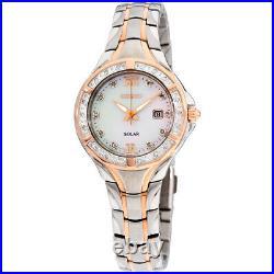 Seiko Diamonds Quartz Movement Mother Of Pearl Dial Ladies Watch SUT374