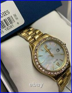 Seiko SUT076 Women's Solar Gold-Tone Mother of Pearl Dial Stainless Steel Watch