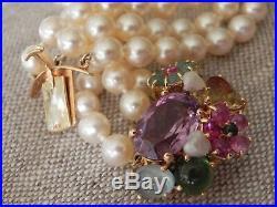 Semi Precious Stones 14k Yellow Gold Clasp Triple Strand Akoya Pearl Bracelet