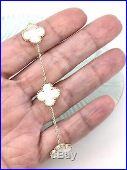 Solid 14k Yellow Gold & White Mother of Pearl 4 Leaf Clover Bracelet, New, 7