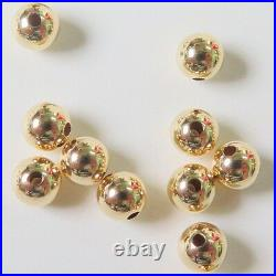 Solid 18K Yellow Gold Bead DIY Bracelet Or Necklace 4mm Loose Bead