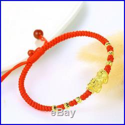 Solid 24K Yellow Gold Bracelet Lucky Wealth Pixiu Bead Red Cord Bracelet 16cm L