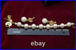 Sonia Rykiel bracelet and earring clips pearl imitation