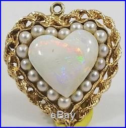 Stunning 14K Gold Fiery OPAL PEARL HEART Bracelet Charm Necklace Pendant