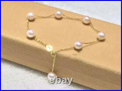 Stunning 7-8MM real AAA+ Akoya WHITE PEARL BRACELET 18K solid gold adjustable