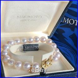 Stunning Mikimoto 18K YG 9.5mm Pinkish A+ Akoya Pearl 7.5 Bracelet Box & Pouch