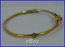 Stunning Victorian 15 Carat Gold Sapphire Diamond Pearl Bangle 7 p1887