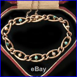 Stunning Victorian, 9ct, 9k, 375 Rose Gold Turquoise & Pearl curb bracelet C1890