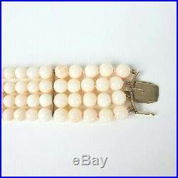 Stunning Vtg Angel Skin Coral Bead 14k Yellow Gold 4 Strand Bracelet 53.7 Grams