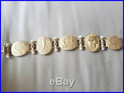 TAGLIAMONTE Solid 18K Gold Ruby-Pearl Classic Collection Cameo Bracelet 39.3 gr