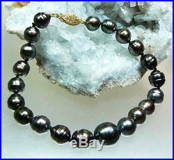 Tahitian Black South Sea Saltwater Pearl Bracelet 14k