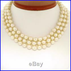 Three Strand Baroque Pearl 14 Choker Necklace with 14K Yellow Gold Filigree Clasp