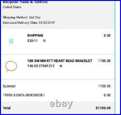Tiffany & Co. 18K Yellow Gold Bead Heart Tag'Return to T' Bracelet SMALL